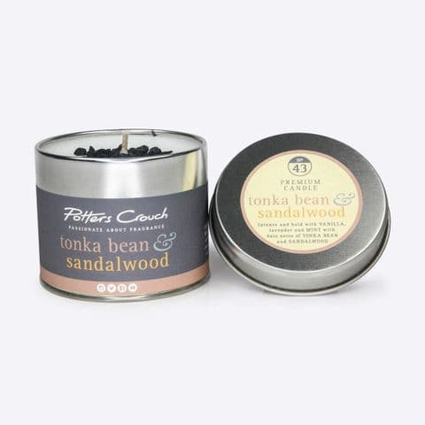 Tonka Bean & Sandalwood Scented Candle In A Tin